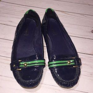 Coach Poppy Flats Loafers Navy Green